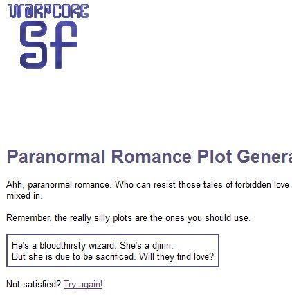 Paranormal romance novel plot generator - Movies like la